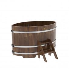 Купель овальная из сращенных ламелей лиственницы 1,02х1,68х1,0 морёная