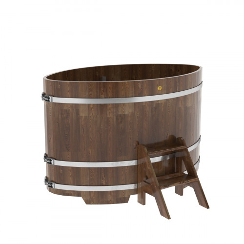 Купель овальная из сращенных ламелей лиственницы 1,02х1,68х1,1 морёная