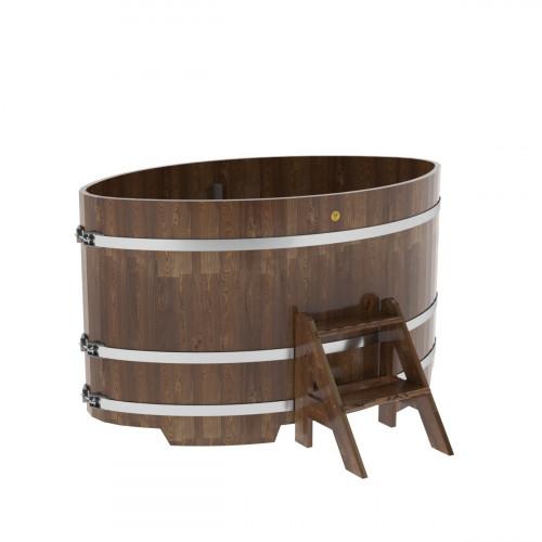Купель овальная из сращенных ламелей лиственницы 1,08х1,75х1,0 морёная
