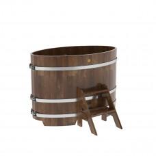 Купель овальная из сращенных ламелей лиственницы 0,80х1,42х1,0 морёная