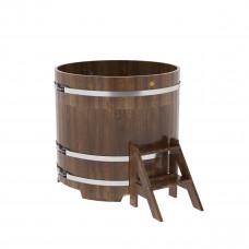 Купель круглая из сращенных ламелей лиственницы  d=1,17х1,1 морёная