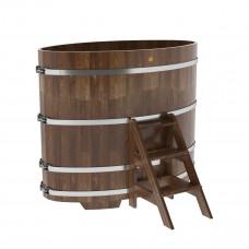 Купель овальная из сращенных ламелей лиственницы 0,95х1,60х1,4 морёная
