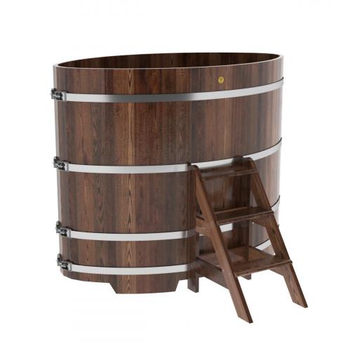 Купель овальная из лиственницы 1,02х1,68х1,4 морёная