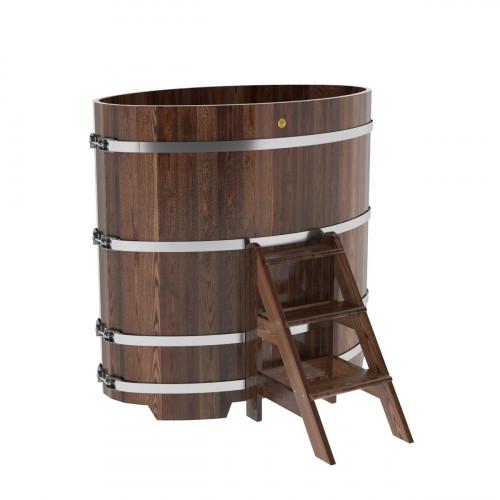 Купель овальная из лиственницы 0,80х1,42х1,4 морёная