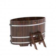 Купель овальная из лиственницы 0,95х1,60х1,0 морёная