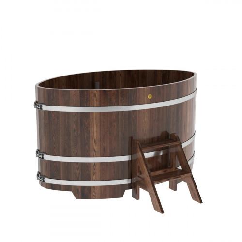 Купель овальная из лиственницы 1,08х1,75х1,0 морёная