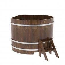 Купель угловая из сращенных ламелей лиственницы 1,37х1,37х1,1 морёная