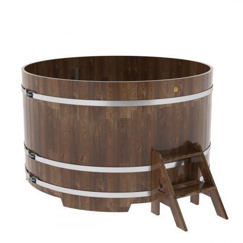 Купель круглая из сращенных ламелей лиственницы d=1,80х1,1 морёная