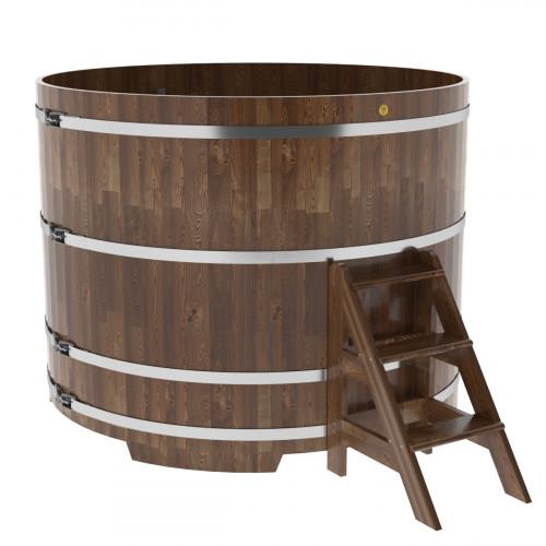 Купель круглая из сращенных ламелей лиственницы d=1,80х1,4 морёная