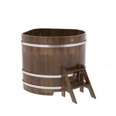 Купель угловая из сращенных ламелей лиственницы 1,19х1,19х1,1 морёная