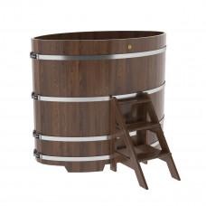 Купель овальная из дуба 1,02х1,68х1,4 морёная