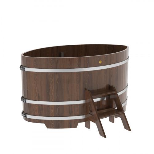 Купель овальная из дуба 1,15х1,83х1,0 морёная