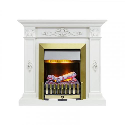 Каминокомплект Derby - Белый дуб с очагом Danville Antique Brass FB2