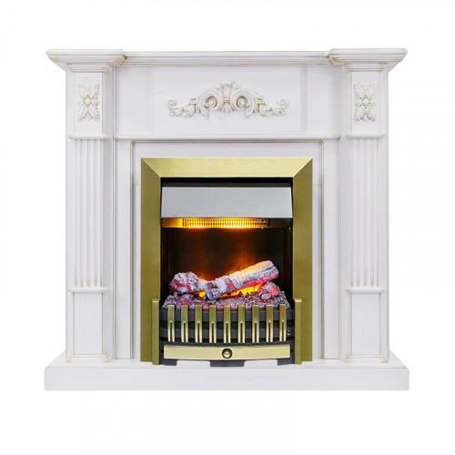 Каминокомплект Martin - Белый дуб, патина золото с очагом Danville Antique Brass FB2
