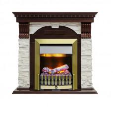 Каминокомплект Dublin - Темный дуб / Сланец белый с очагом Danville Antique Brass FB2