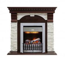 Каминокомплект Dublin - Темный дуб / Сланец белый с очагом Danville Chrome FB2