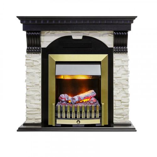 Каминокомплект Dublin - Вегне / Сланец белый с очагом Danville Antique Brass FB2