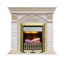 Каминокомплект Dublin - Слоновая кость с патиной / Сланец крем с очагом Danville Antique Brass FB2