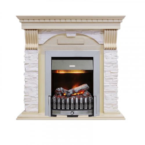 Каминокомплект Dublin - Слоновая кость с патиной / Сланец крем с очагом Danville Chrome FB2