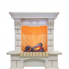 Каминокомплект Pierre Luxe - Слоновая кость / Шампань (Высота 975мм) с очагом Cassette 400 NH