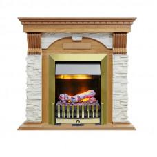 Каминокомплект Dublin - Дуб / Сланец белый с очагом Danville Antique Brass FB2