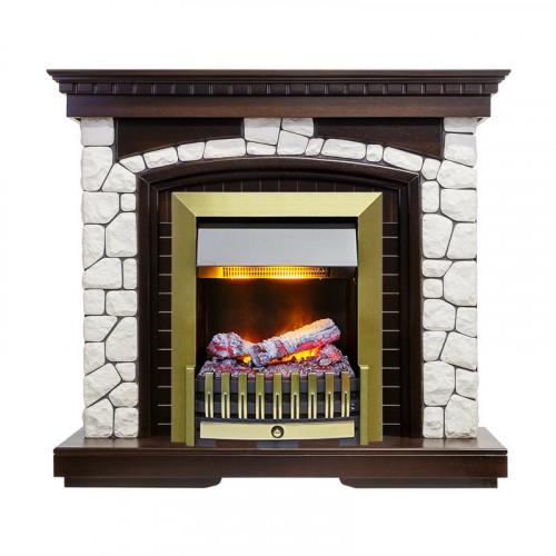 Каминокомплект Glasgow - Темный дуб / Белый с очагом Danville Antique Brass FB2