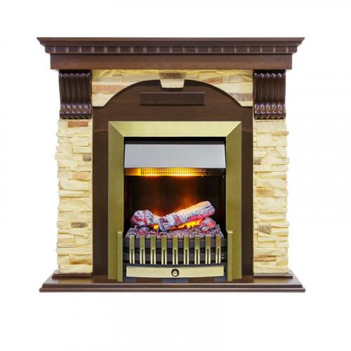 Каминокомплект Dublin угловой - Темный дуб / Сланец с очагом Danville Antique Brass FB2