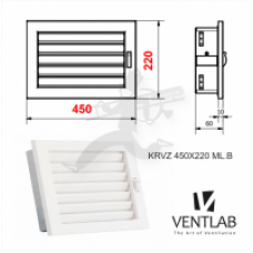 Решетка 450 x220mm, цвет белый VENTLAB
