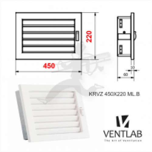 Grill VENTLAB Решетка, сетка, 450 x220mm, цвет белый