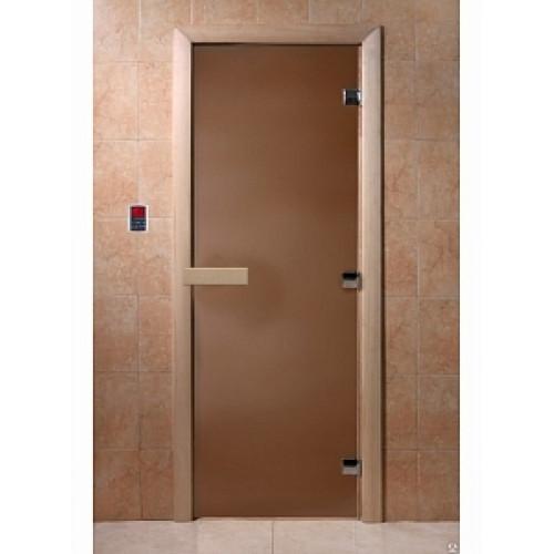 Дверь для сауны DoorWood (ДорВуд) бронза матовое 1700х700, левое открывание ольха/береза