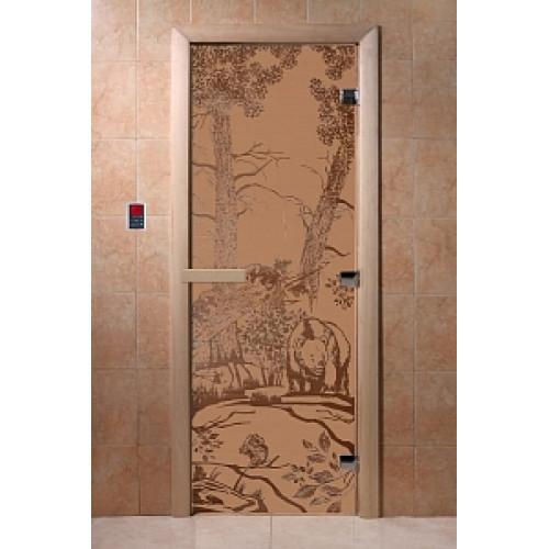 Дверь для сауны DoorWood (ДорВуд) Мишки в лесу сат.мат.,2100х800 коробка ольха/береза
